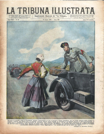 """1935 * Original Historical Magazine """"La Tribuna Illustrata (N°25) - Duce Parla con Donna a Nuoro"""""""