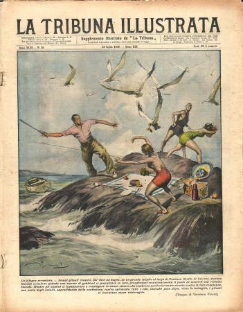 "1935 * Original Historical Magazine ""La Tribuna Illustrata (N°30) - Gabbiani Assaliscono Gitanti"""