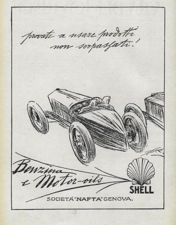 """1929 * Advertising Original """"Shell - Provate a Usare Prodotti - ALDO MAZZA"""" in Passepartout"""