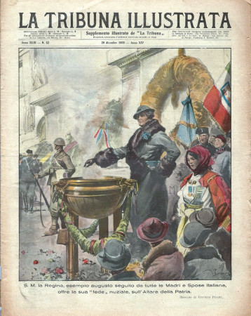 "1935 * Original Historical Magazine ""La Tribuna Illustrata (N°52) - La Regina Offre La Sua Fede Nuziale"""