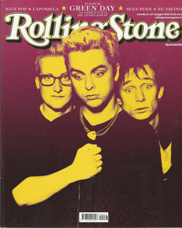 """2009 (N67) * Magazine Cover Rolling Stone Original """"Green Day"""" in Passepartout"""