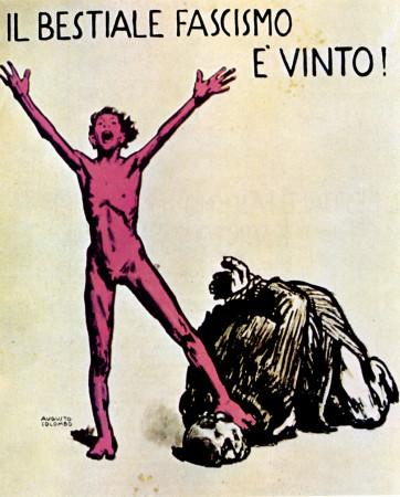 """ND (WWII) * War Propaganda Reproduction """"Italia Resistenza - Bestiale Fascismo È Vinto"""" in Passepartout"""
