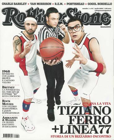 """2008 (N54) * Magazine Cover Rolling Stone Original """"Tiziano Ferro + Linea 77"""" in Passepartout"""