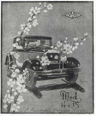 "1929 * Advertising Original ""Ansaldo - Mod 14 e 15"" in Passepartout"