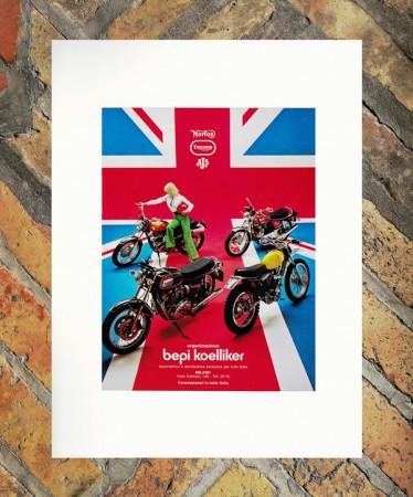 "1970 * Advertising Original Motorcycle ""Bepi Koelliker - Norton Triumph AJS"" Coloured in Passepartout"
