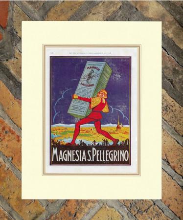 """1927 * Advertising Original """"Magnesia San Pellegrino Torino"""" Coloured in Passepartout"""