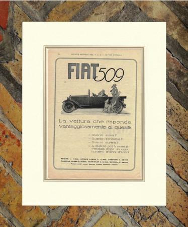 """1925 * Advertising Original """"Fiat - Vettura 509"""" in Passepartout"""