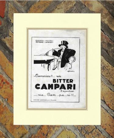 "1940 * Advertising Original ""Campari Bitter - ORSI"" in Passepartout"