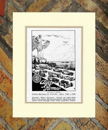 """1940 * Advertising Original """"Alfa Romeo - Milano"""" in Passepartout"""
