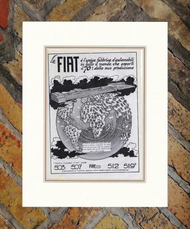 """1926 * Advertising Original """"Fiat - EXPORT"""" in Passepartout"""