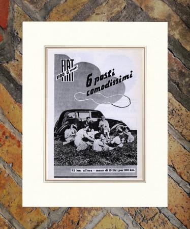 """1936 * Advertising Original """"Fiat - 1100 6 Posti"""" in Passepartout"""