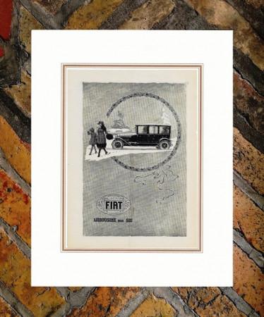 """1921 * Advertising Original """"Fiat - 510 Limousine"""" in Passepartout"""