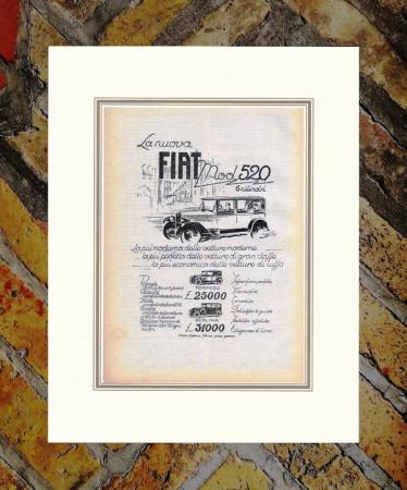"""1928 * Advertising Original """"Fiat - Mod 520"""" in Passepartout"""