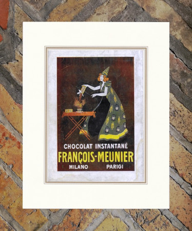 "1914 * Advertising Original ""Francois-Meunier Chocolat"" Coloured in Passepartout"