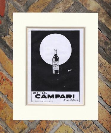 "1930 * Advertising Original ""Campari Bitter -  MAGA"" in Passepartout"