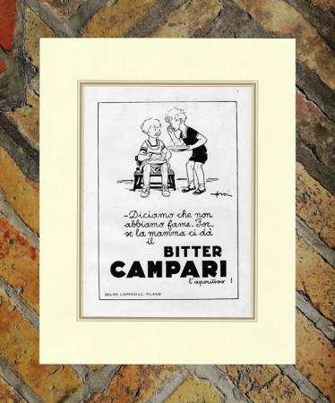 "1933 * Advertising Original ""Campari Bitter -  ORSI"" in Passepartout"