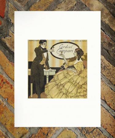 """1916 * Advertising Original """"Campari Cordial"""" in Passepartout"""