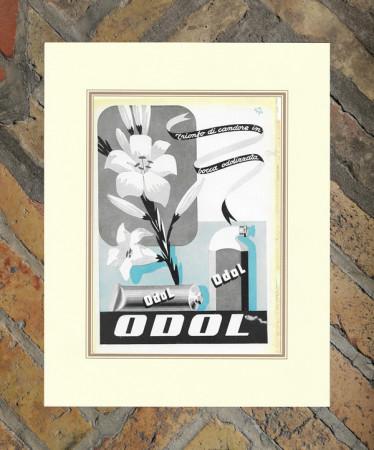 """1942 * Advertising Original """"Toothpaste ODOL - DUSE MARIO"""" in Passepartout"""