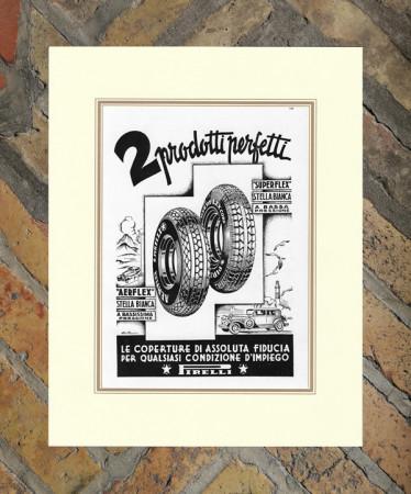 "1933 * Advertising Original ""Pirelli - 2 Prodotti - POMI"" in Passepartout"