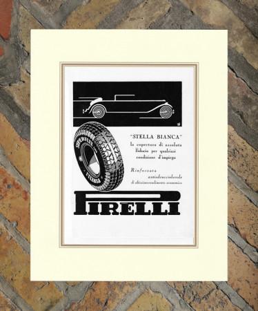 """1933 * Advertising Original """"Pirelli - Stella Bianca"""" in Passepartout"""