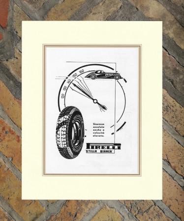 """1934 * Advertising Original """"Pirelli - Stella Bianca"""" in Passepartout"""