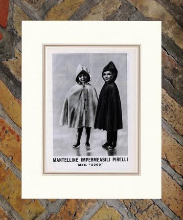 """1939 * Advertising Original """"Pirelli - Mantelline"""" in Passepartout"""