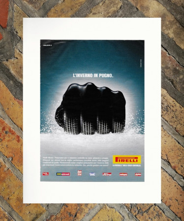"""2003 * Advertising Original """"Pirelli - Inverno - ARMANDO TESTA"""" in Passepartout"""