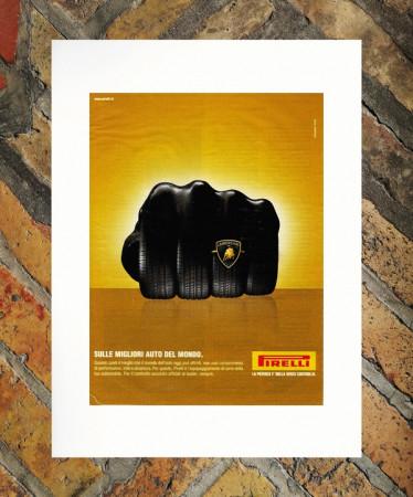 """2003 * Advertising Original """"Pirelli - Lamborghini - ARMANDO TESTA"""" in Passepartout"""