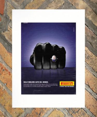 """2003 * Advertising Original """"Pirelli - Maserati - ARMANDO TESTA"""" in Passepartout"""