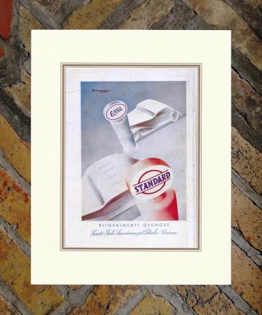"1934 * Advertising Original ""Esso - Standard - BERNAZZOLI"" Coloured in Passepartout"