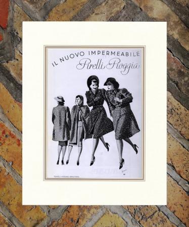 """1938 * Advertising Original """"Pirelli - Pioggia Impermeabile - BOCCASILE"""" in Passepartout"""