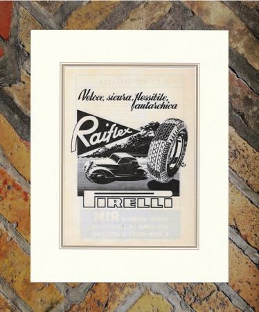 """1941 * Advertising Original """"Pirelli - Raiflex"""" in Passepartout"""