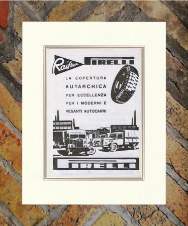 """1941 * Advertising Original """"Pirelli - Raiflex (Autarchica)"""" in Passepartout"""