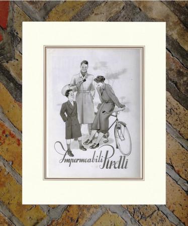 """1942 * Advertising Original """"Pirelli - Impermeabili"""" in Passepartout"""