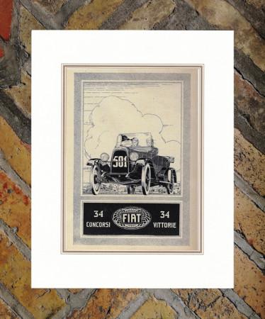 """1922 * Advertising Original """"Fiat - 501 - 34 Vittorie"""" in Passepartout"""