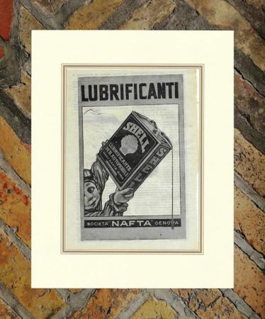 """1926 * Advertising Original """"Shell - Lubrificanti - ALDO MAZZA"""" in Passepartout"""