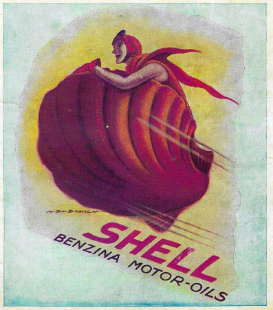 "1932 * Advertising Original ""Shell - Benzina Motor-Oils - M.DUDOVICH"" in Passepartout"