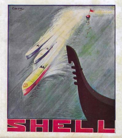 """1932 * Advertising Original """"Shell - Venezia - CAVA"""" in Passepartout"""