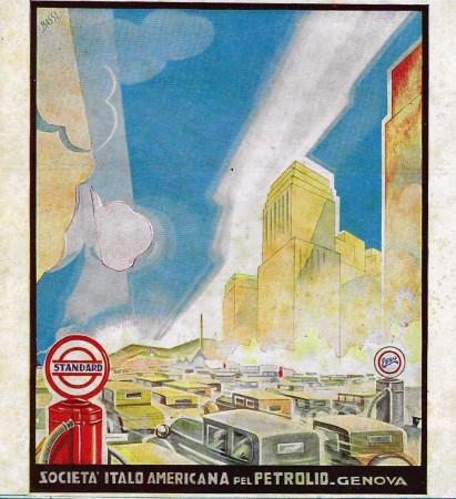 """1932 * Advertising Original """"Esso - Standard - BASSI"""" in Passepartout"""