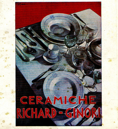 "1930 * Advertising Original ""Ceramiche Richard-Ginori - R. DI MASSA"" in Passepartout"