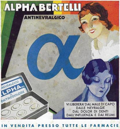 """1932 * Advertising Original """"Alpha-Bertelli - Antinevralgico"""" in Passepartout"""