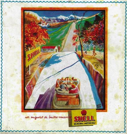 """1929 * Advertising Original """"Shell - Un Augurio di Buone Vacanze - BASSI"""" in Passepartout"""