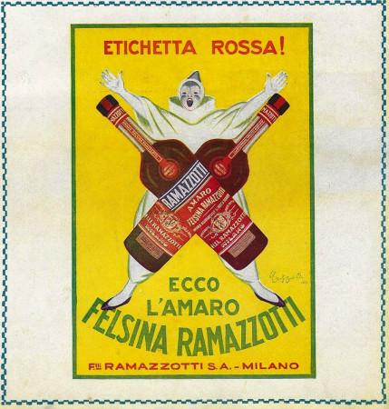 "1928 * Advertising Original ""Amaro Felsina Ramazzotti - Etichetta Rossa - CAPPIELLO"" in Passepartout"