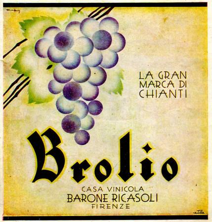 """1930 * Advertising Original """"Brolio Barone Ricasoli - Gran Marca di Chianti - MINGOZZI"""" in Passepartout"""
