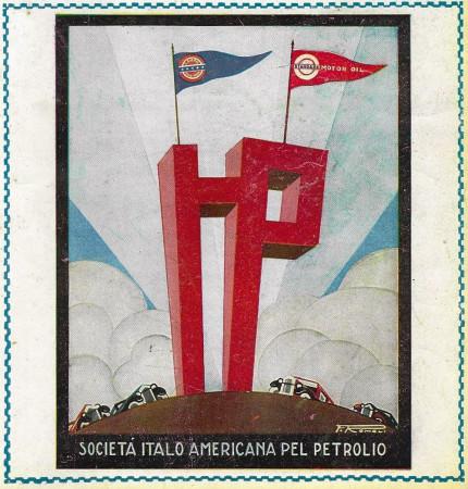"""1928 * Advertising Original """"Società Italo Americana Del Petrolio - ROMOLI"""" Coloured in Passepartout"""