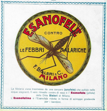 "1929-30 * Advertising Original ""Esanofele Bisleri - Contro le Febbri Malariche"" in Passepartout"