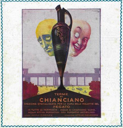 """1929 * Advertising Original """"Terme di Chianciano - Cura delle Malattie del Fegato"""" in Passepartout"""