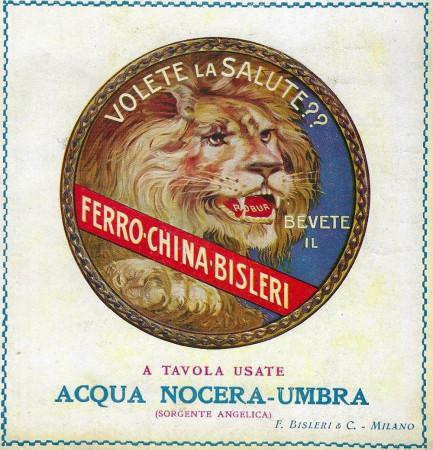 """1925-30 * Advertising Original """"Ferro-China Bisleri - Acqua Nocera-Umbra"""" in Passepartout"""