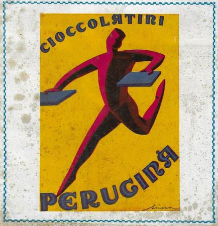 """1929 * Advertising Original """"Perugina - Cioccolatini - SENECA"""" Coloured in Passepartout"""