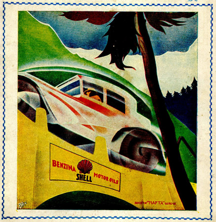 "1930 * Advertising Original ""Shell - Benzina Motor Oils - BASSI"" in Passepartout"